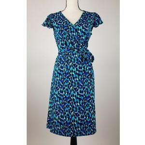 Tahari Womens Dress 8 Short Sleeve Blue C16-10P
